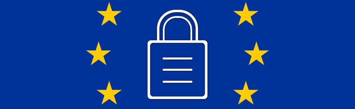 Flaga Unii Europejskiej z zamkniętą kłódką w środką